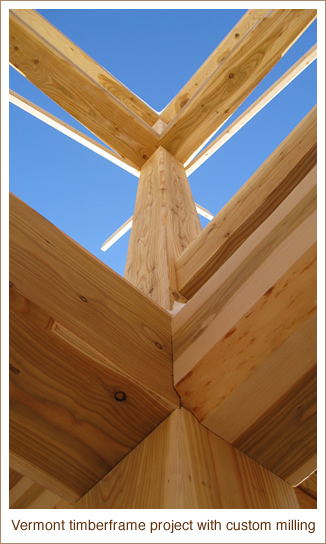 Vermont timberframe project with custom milling